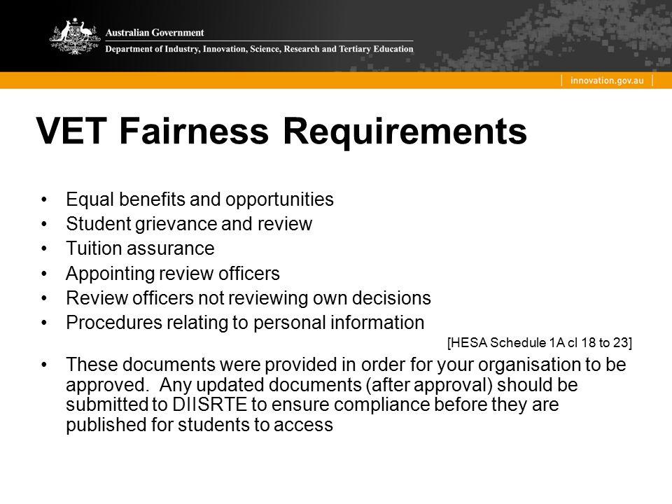 VET Fairness Requirements