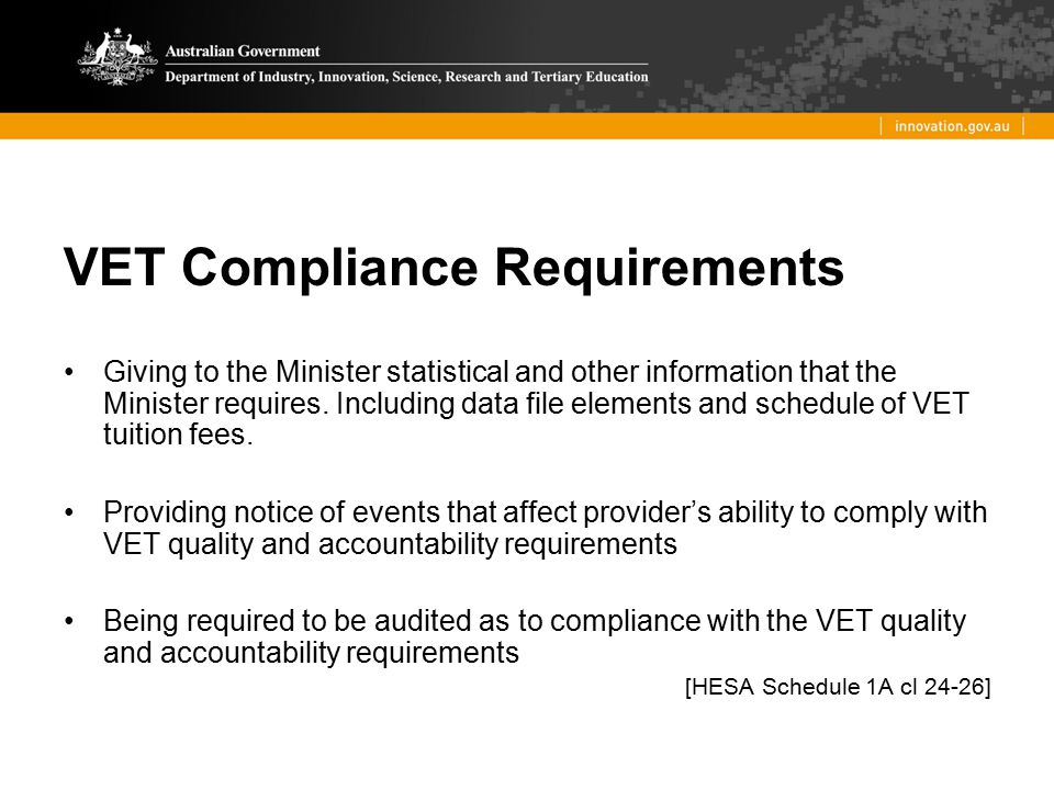 VET Compliance Requirements