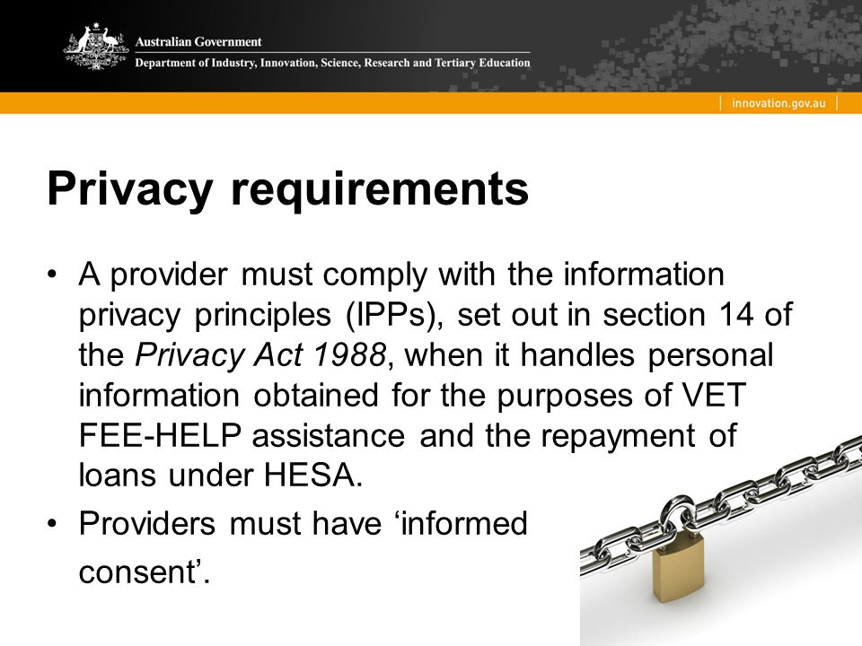 Privacy requirements
