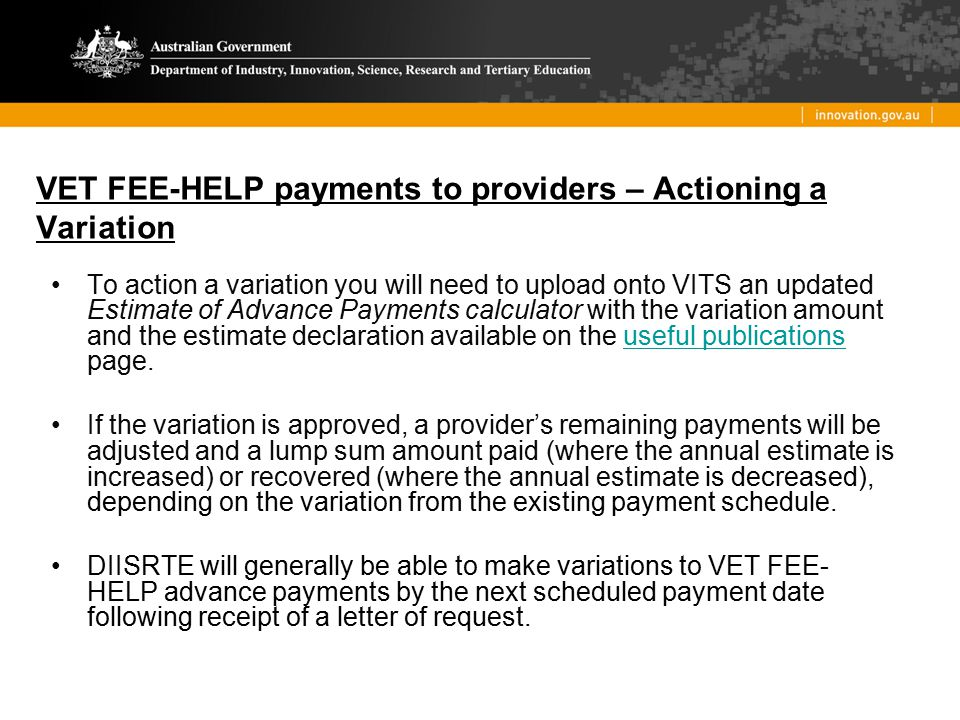 VET FEE-HELP payments to providers – Actioning a Variation