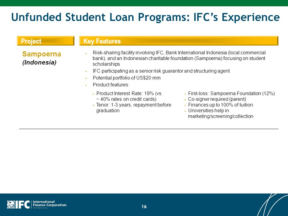 Unfunded Student Loan Programs: IFC's Experience