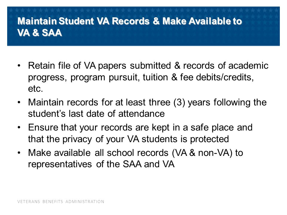 What Should a School's VA File Contain