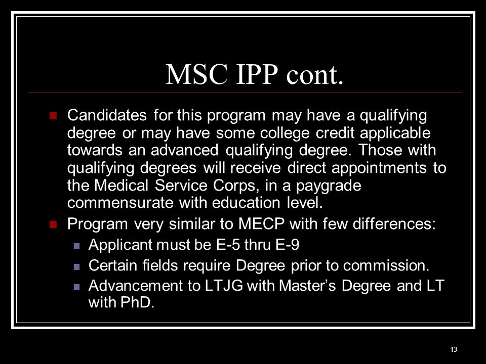 MSC IPP cont.
