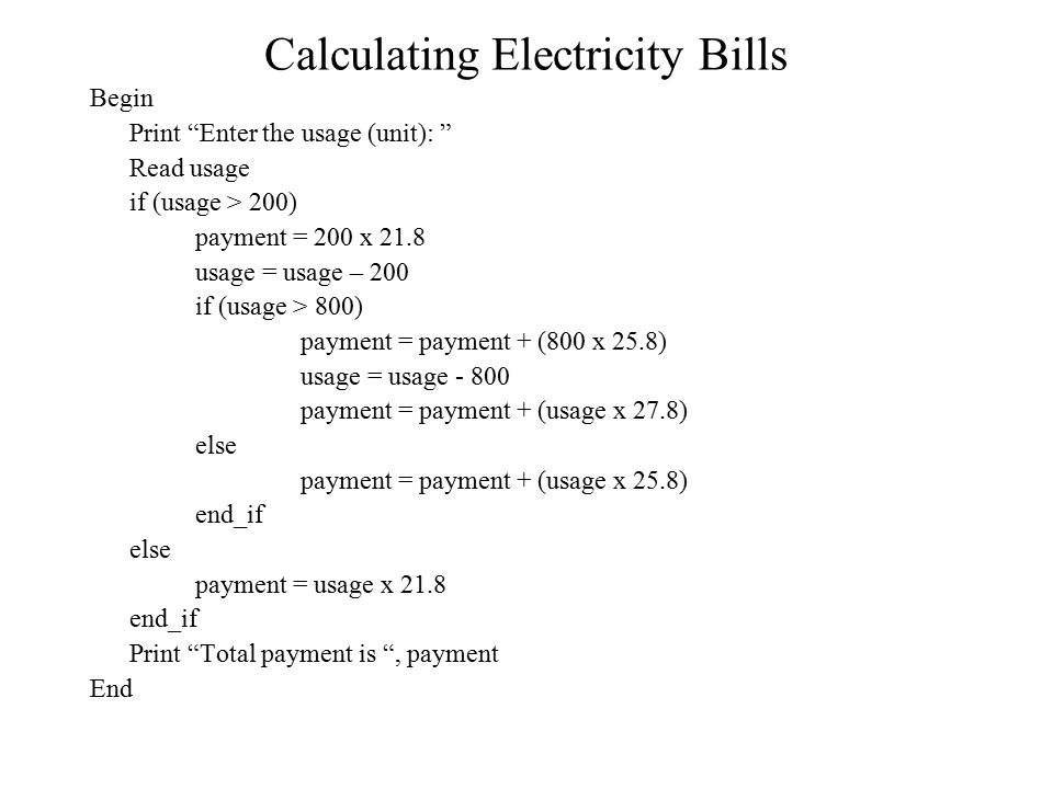 Calculating Electricity Bills
