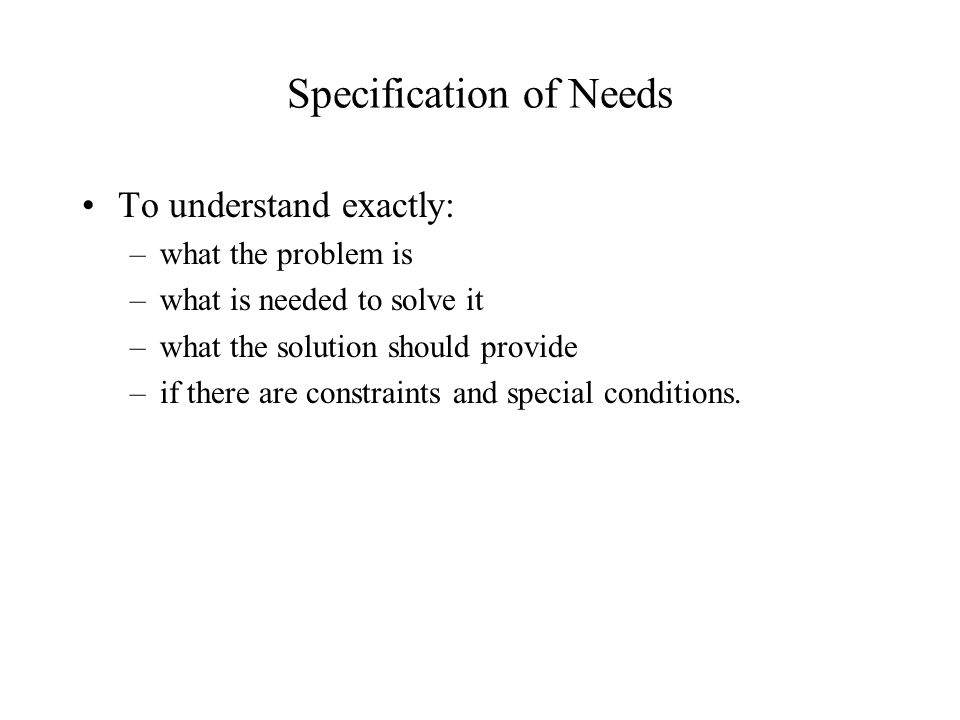Specification of Needs