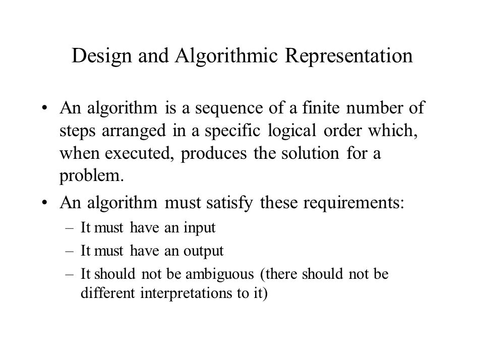 Design and Algorithmic Representation