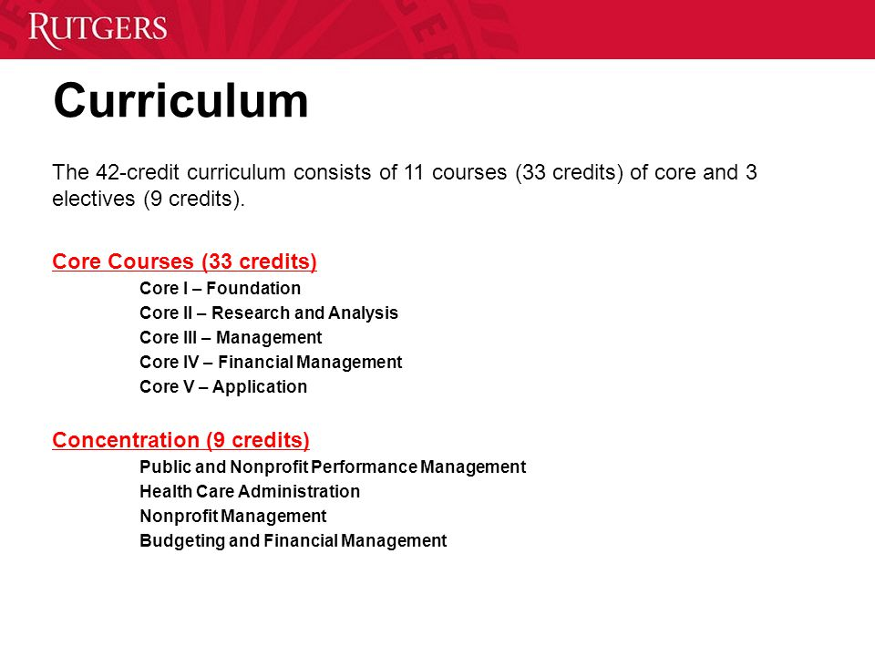Curriculum The 42-credit curriculum consists of 11 courses (33 credits) of core and 3 electives (9 credits).