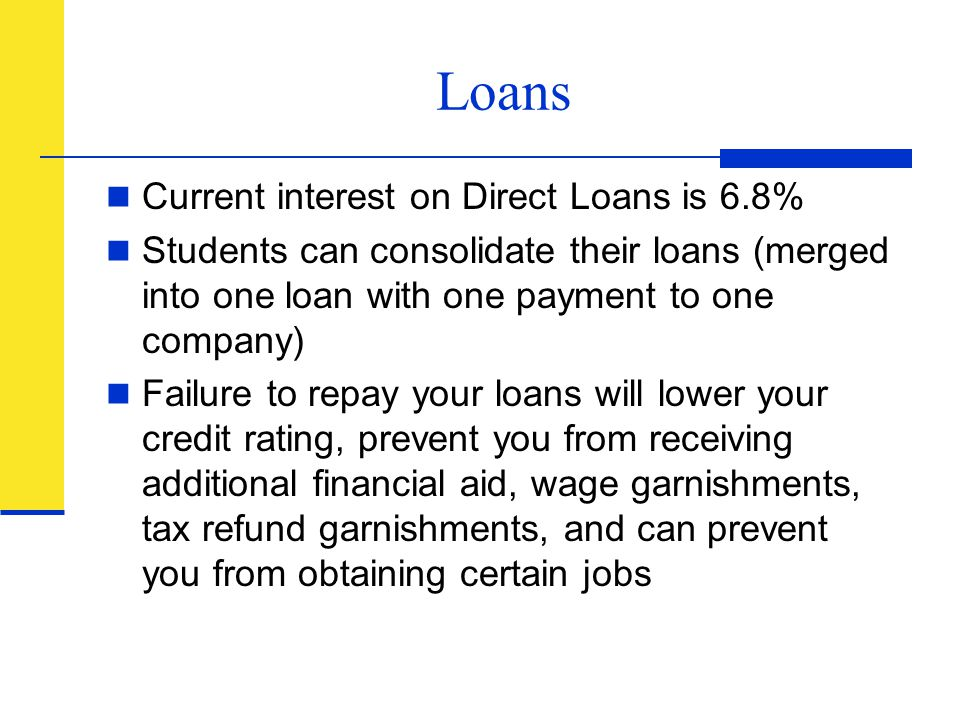 Loans Current interest on Direct Loans is 6.8%
