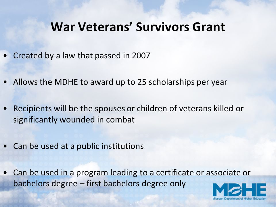 War Veterans' Survivors Grant