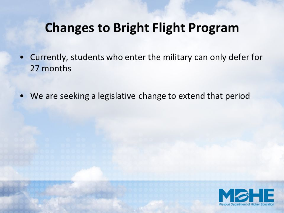 Changes to Bright Flight Program