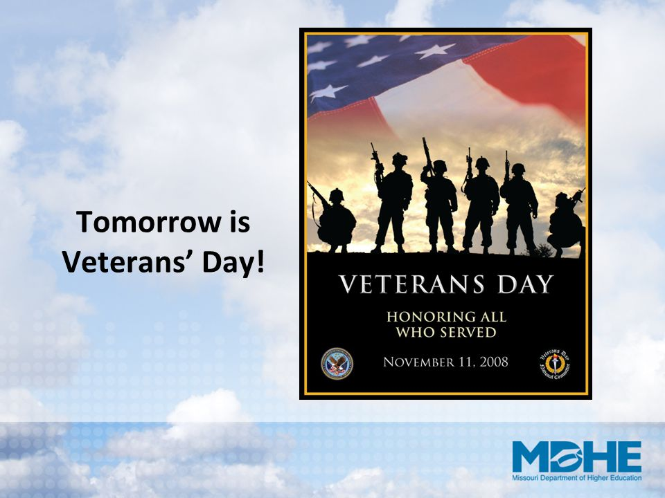 Tomorrow is Veterans' Day!
