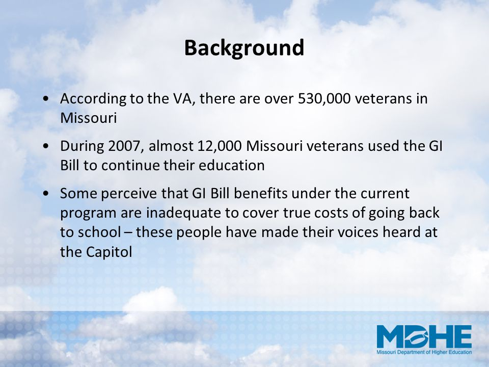 Background According to the VA, there are over 530,000 veterans in Missouri.