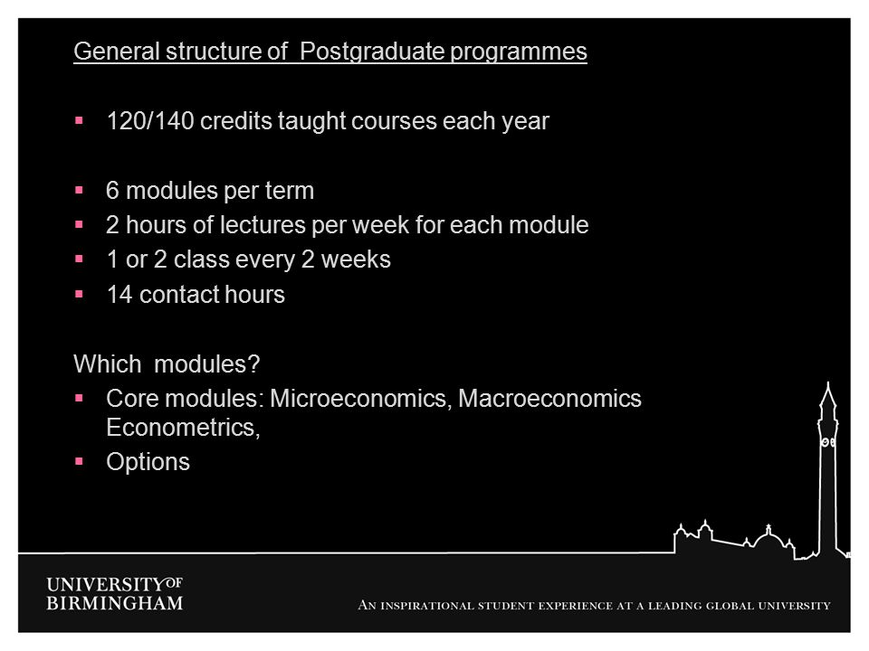 General structure of Postgraduate programmes