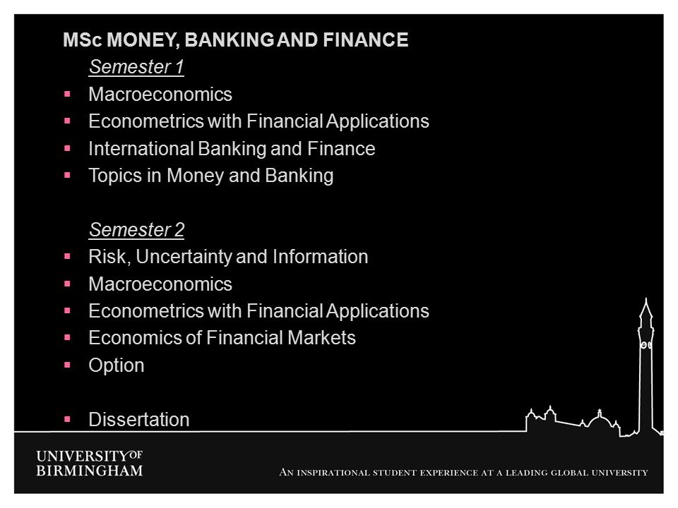 MSc MONEY, BANKING AND FINANCE
