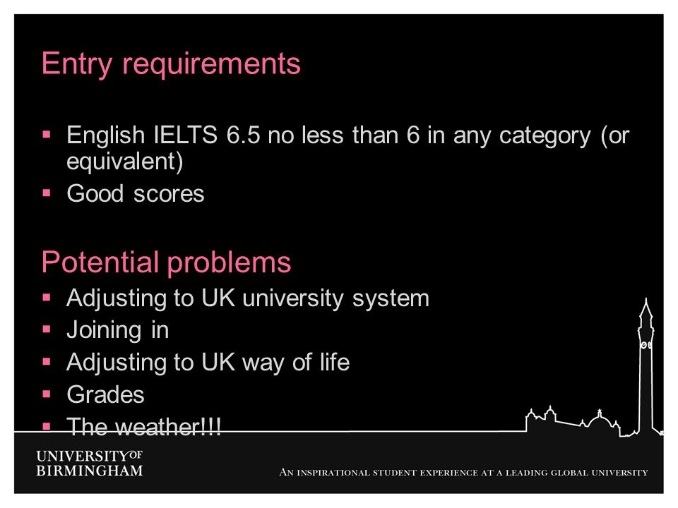 Entry requirements Potential problems