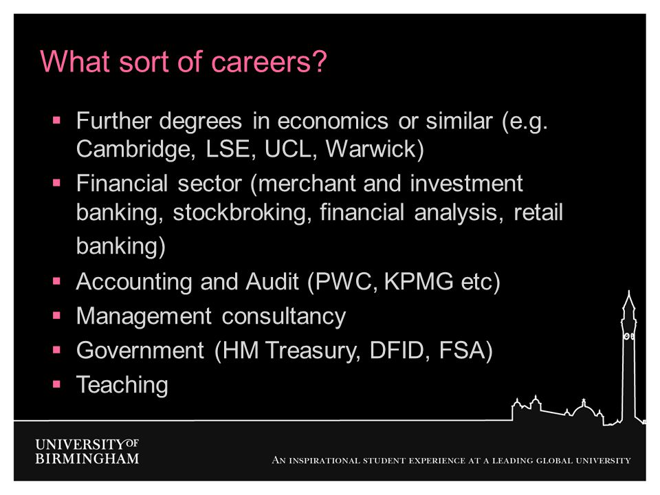 What sort of careers Further degrees in economics or similar (e.g. Cambridge, LSE, UCL, Warwick)