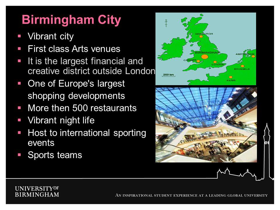 Birmingham City Vibrant city First class Arts venues
