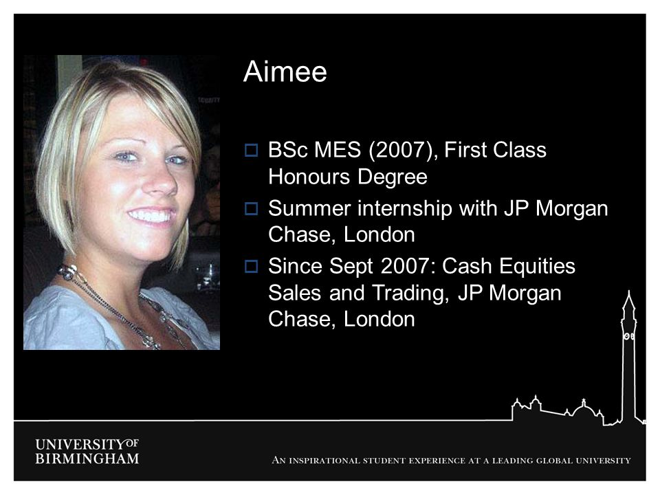 Aimee BSc MES (2007), First Class Honours Degree