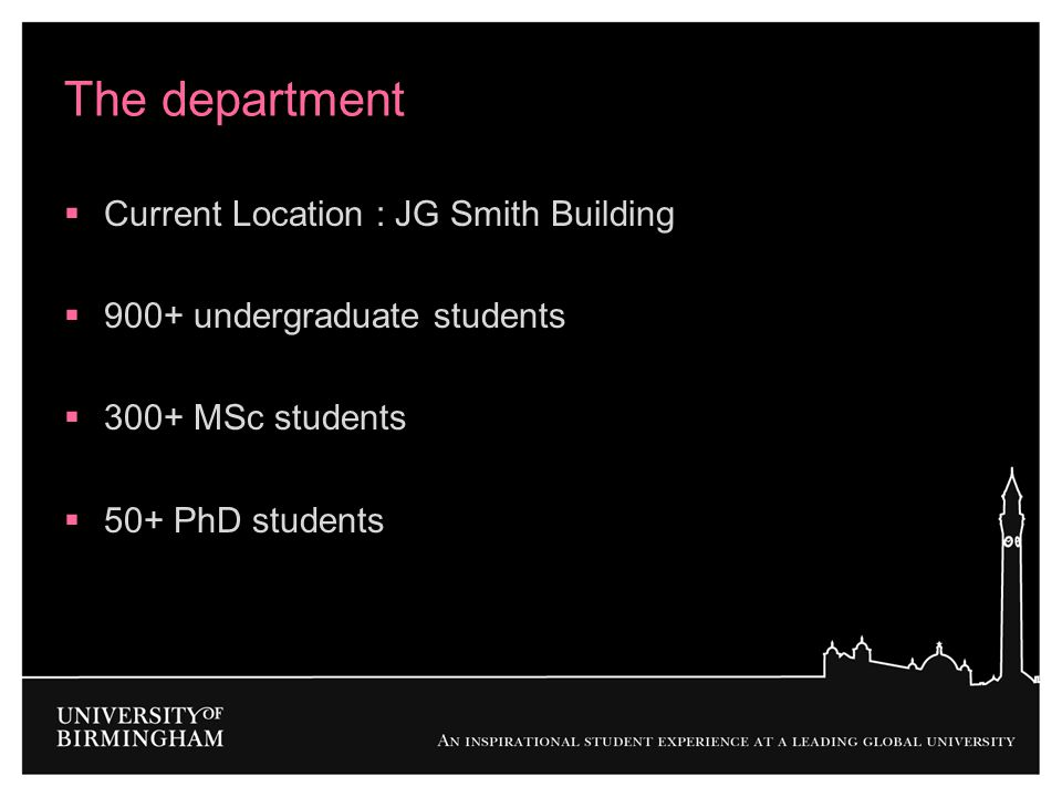 The department Current Location : JG Smith Building
