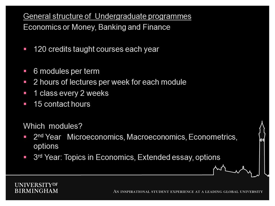 General structure of Undergraduate programmes