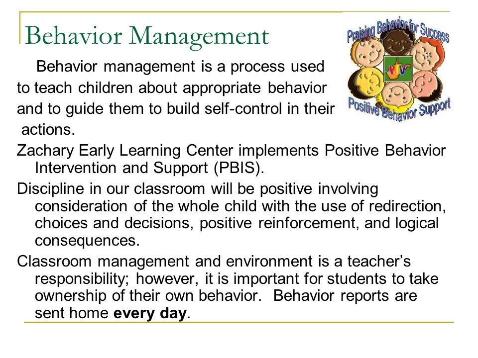 Behavior Management to teach children about appropriate behavior