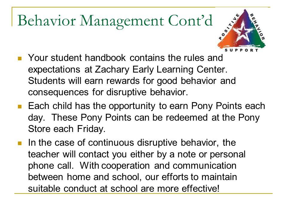 Behavior Management Cont'd