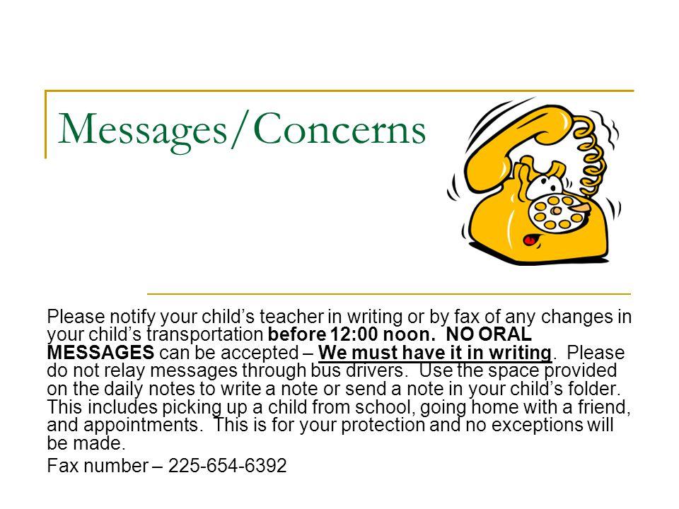 Messages/Concerns
