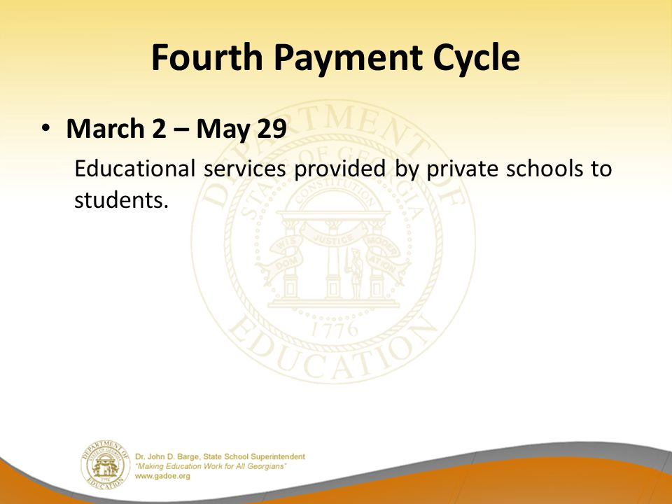 Fourth Payment Cycle March 2 – May 29