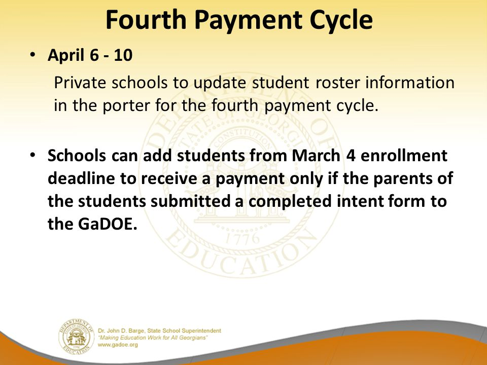 Fourth Payment Cycle April 6 - 10
