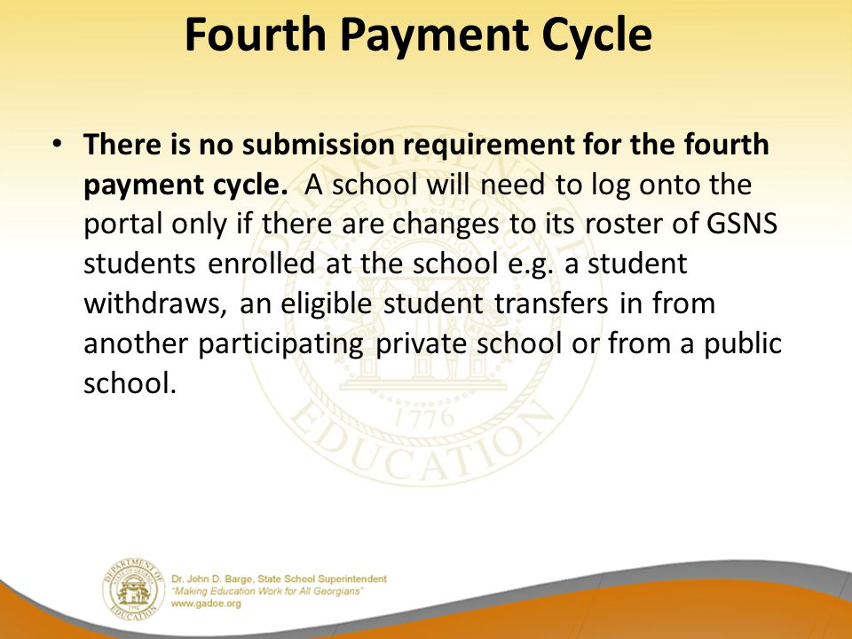 Fourth Payment Cycle