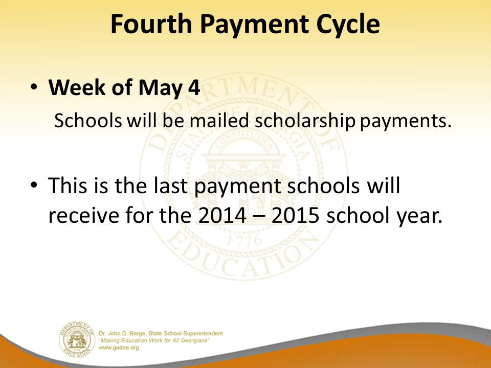 Fourth Payment Cycle Week of May 4