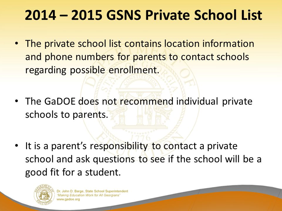2014 – 2015 GSNS Private School List