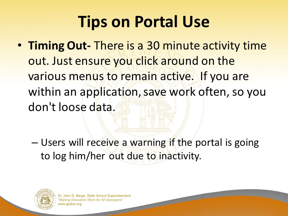 Tips on Portal Use