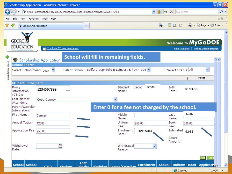 School will fill in remaining fields.