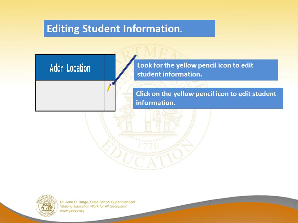 Editing Student Information.
