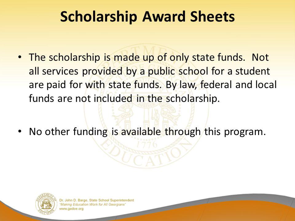 Scholarship Award Sheets