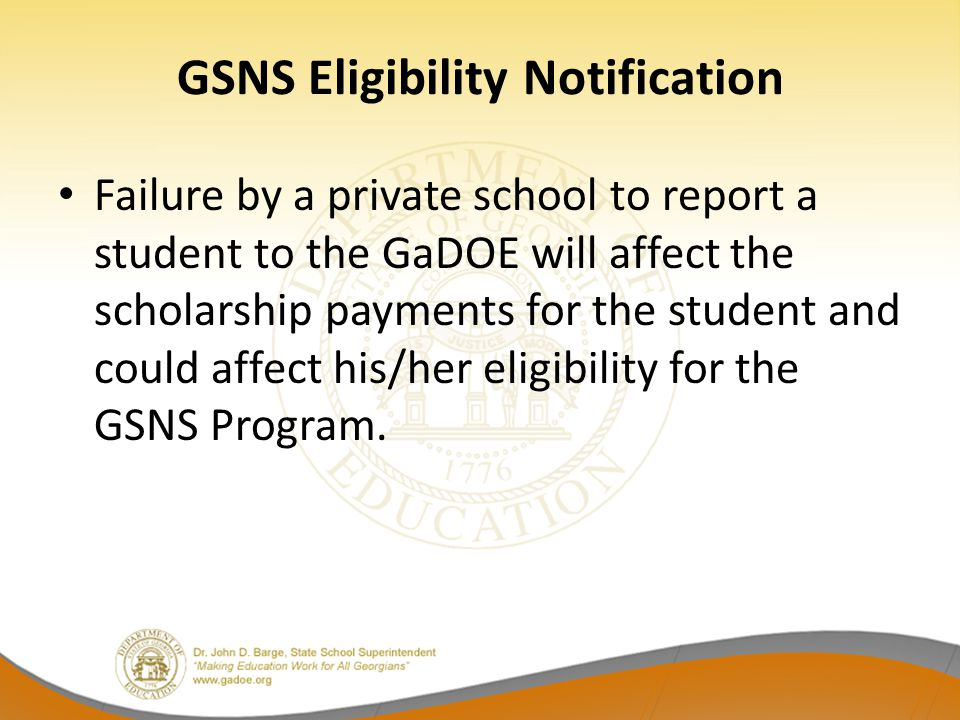GSNS Eligibility Notification