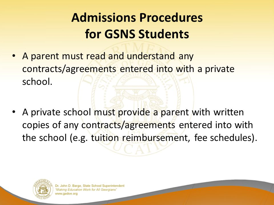 Admissions Procedures for GSNS Students
