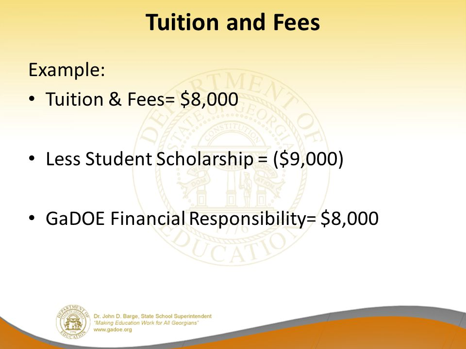 Tuition and Fees Example: Tuition & Fees= $8,000