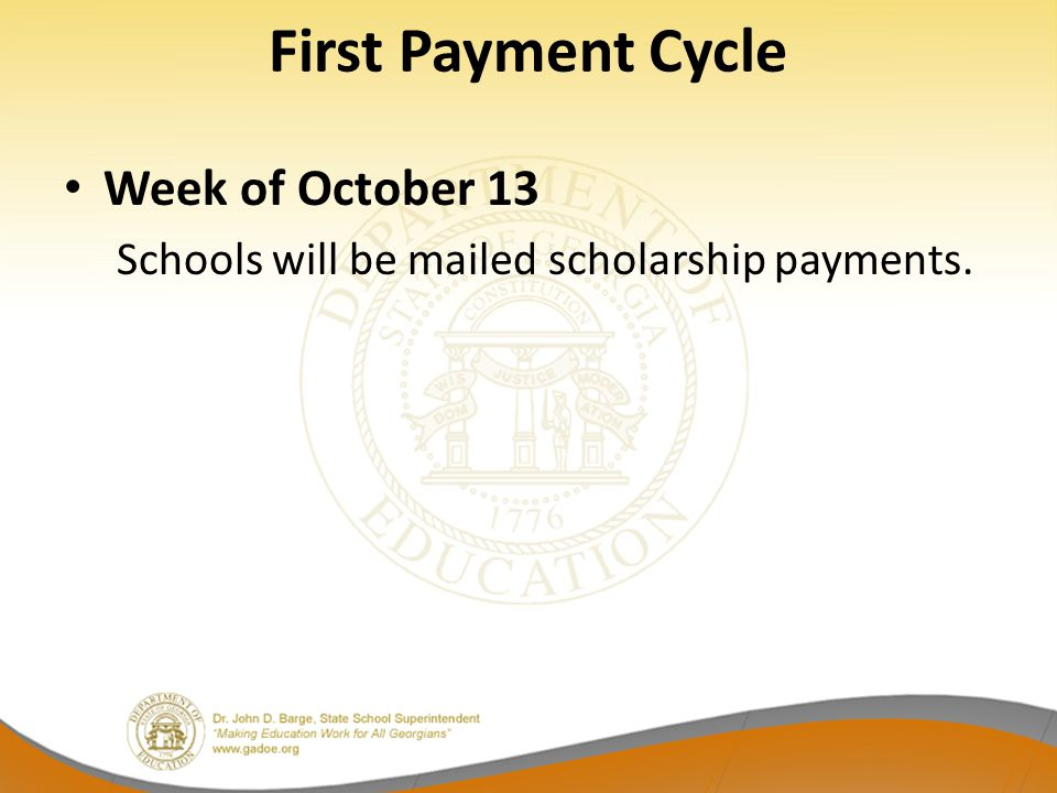 First Payment Cycle Week of October 13