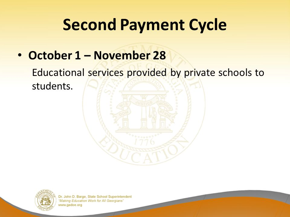 Second Payment Cycle October 1 – November 28