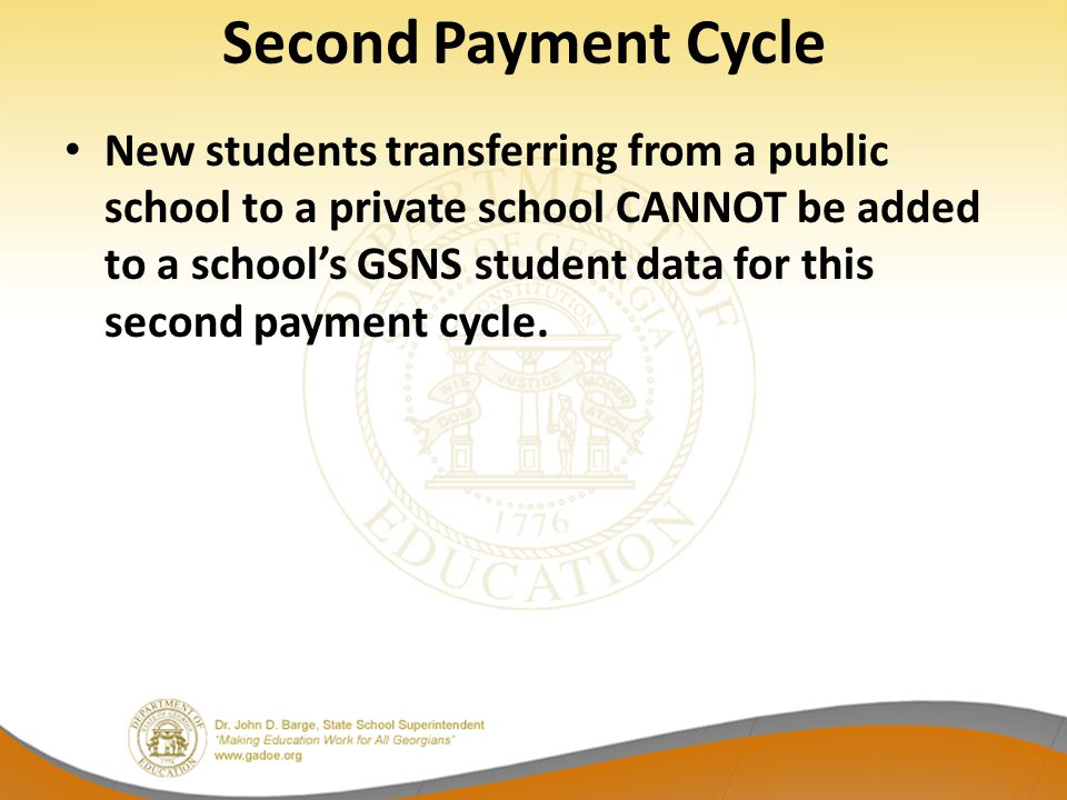 Second Payment Cycle