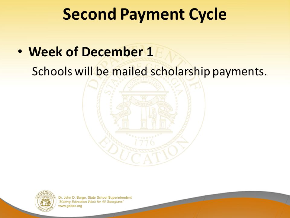 Second Payment Cycle Week of December 1