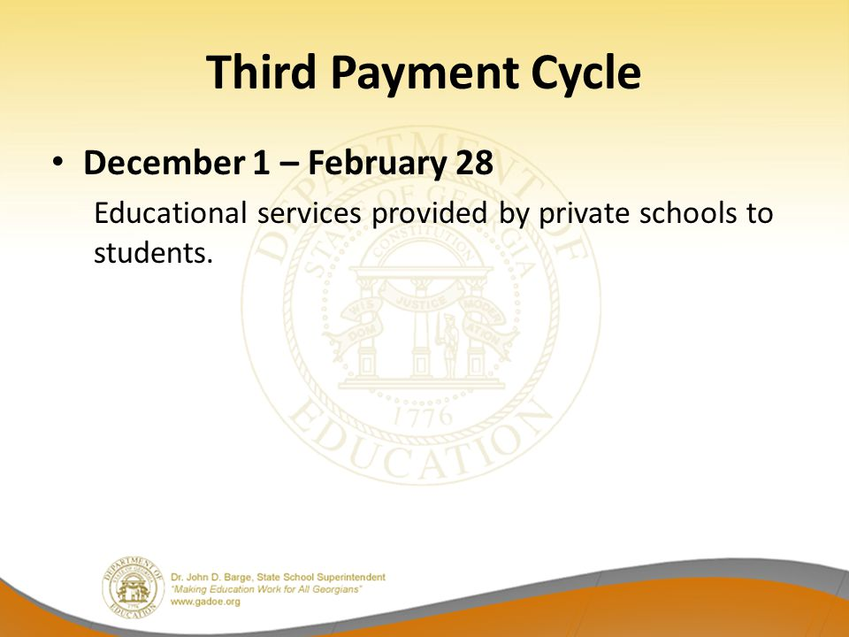 Third Payment Cycle December 1 – February 28