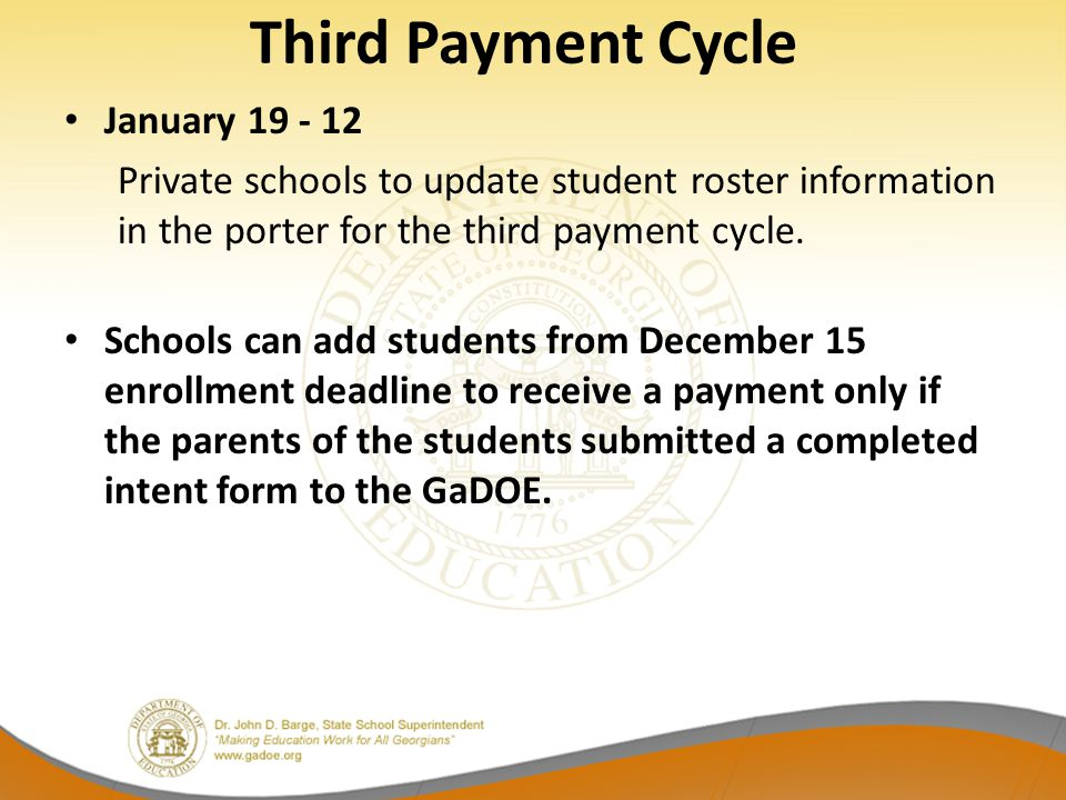Third Payment Cycle January 19 - 12