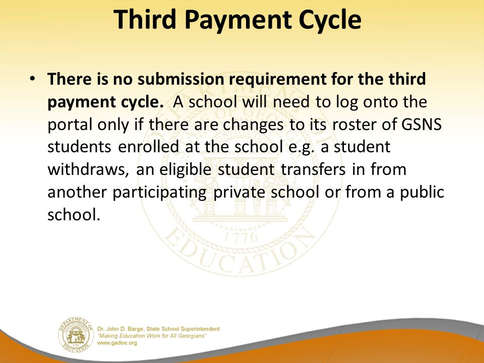 Third Payment Cycle