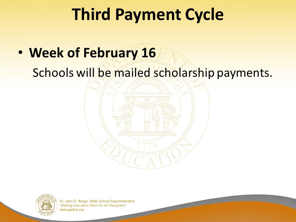 Third Payment Cycle Week of February 16