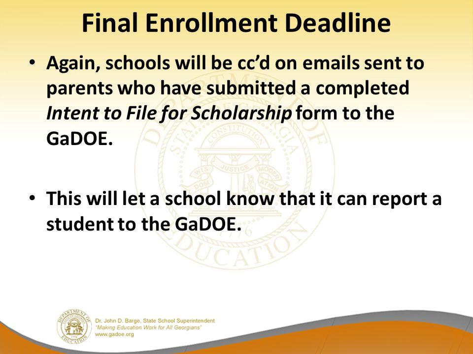 Final Enrollment Deadline
