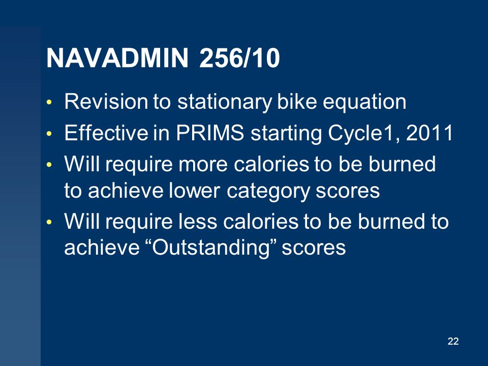 NAVADMIN 256/10 Revision to stationary bike equation