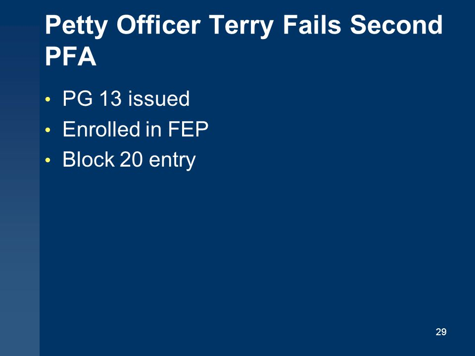 Petty Officer Terry Fails Second PFA